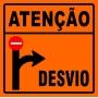 PLACA SINALIZAÇÃO DE OBRAS - ATENÇÃO DESVIO A DIREITA