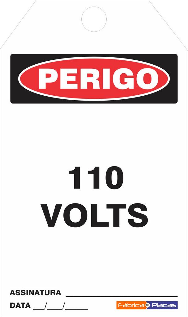 CARTÂO DE TRAVAMENTO - PERIGO 110 VOLTS