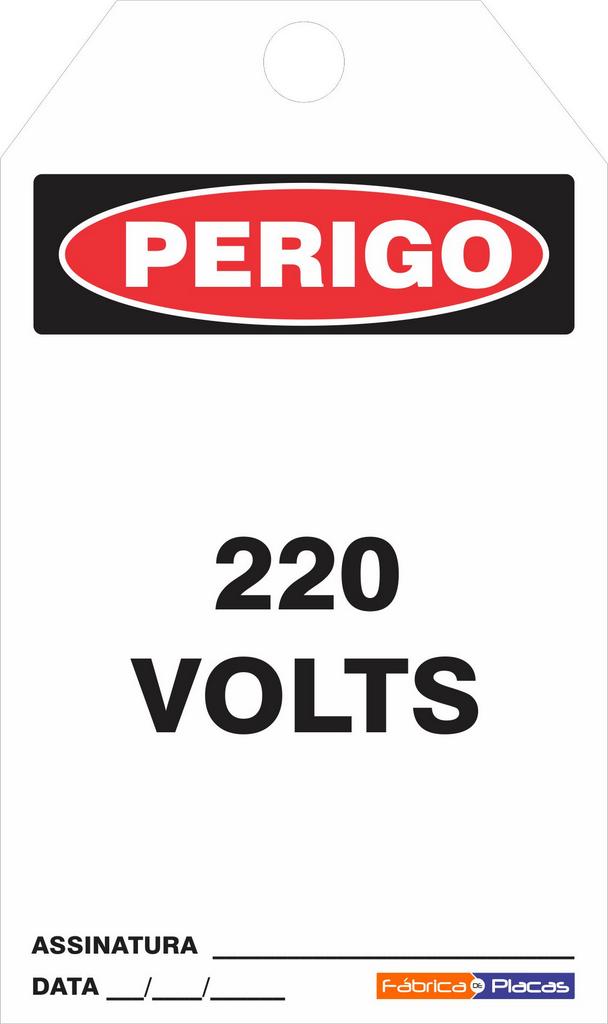 CARTÂO DE TRAVAMENTO - PERIGO 220 VOLTS