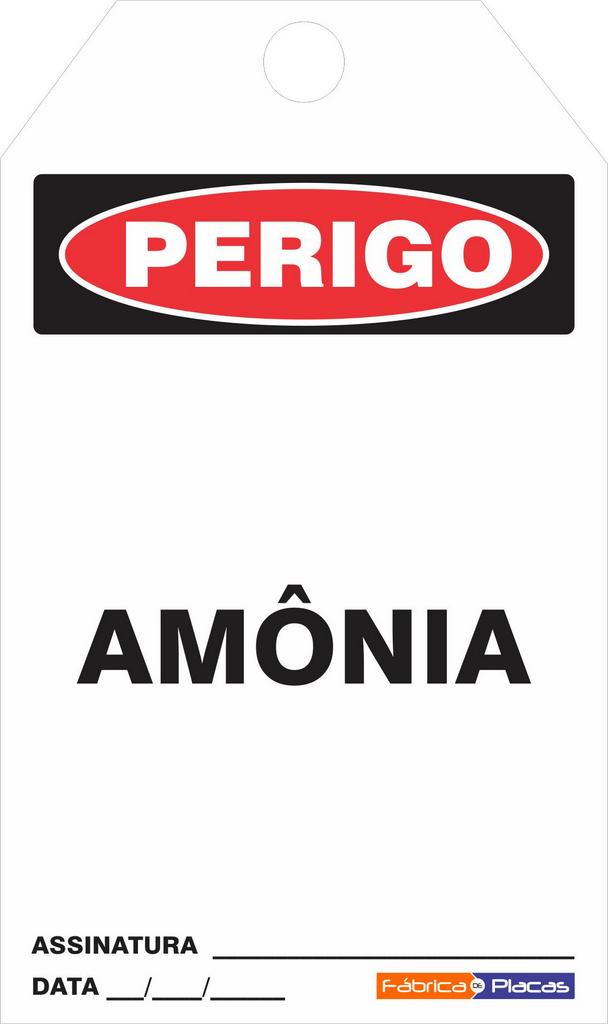 CARTÃO DE TRAVAMENTO - PERIGO AMÔNIA