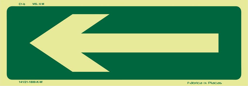Placa Orientação e Salvamento - Seta Direcional - C1-b