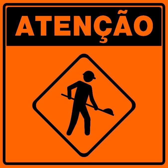 PLACA SINALIZAÇÃO DE OBRAS - HOMENS TRABALHANDO - ÍCONE