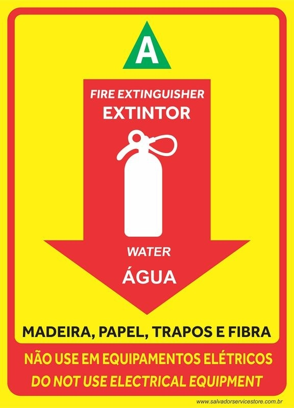 Placas de Extintor - 18x25cm - Amarela