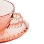Cj 4 Xícaras Chá Cristal De Chumbo C/ Pires Coração Pearl Rosa 180ml