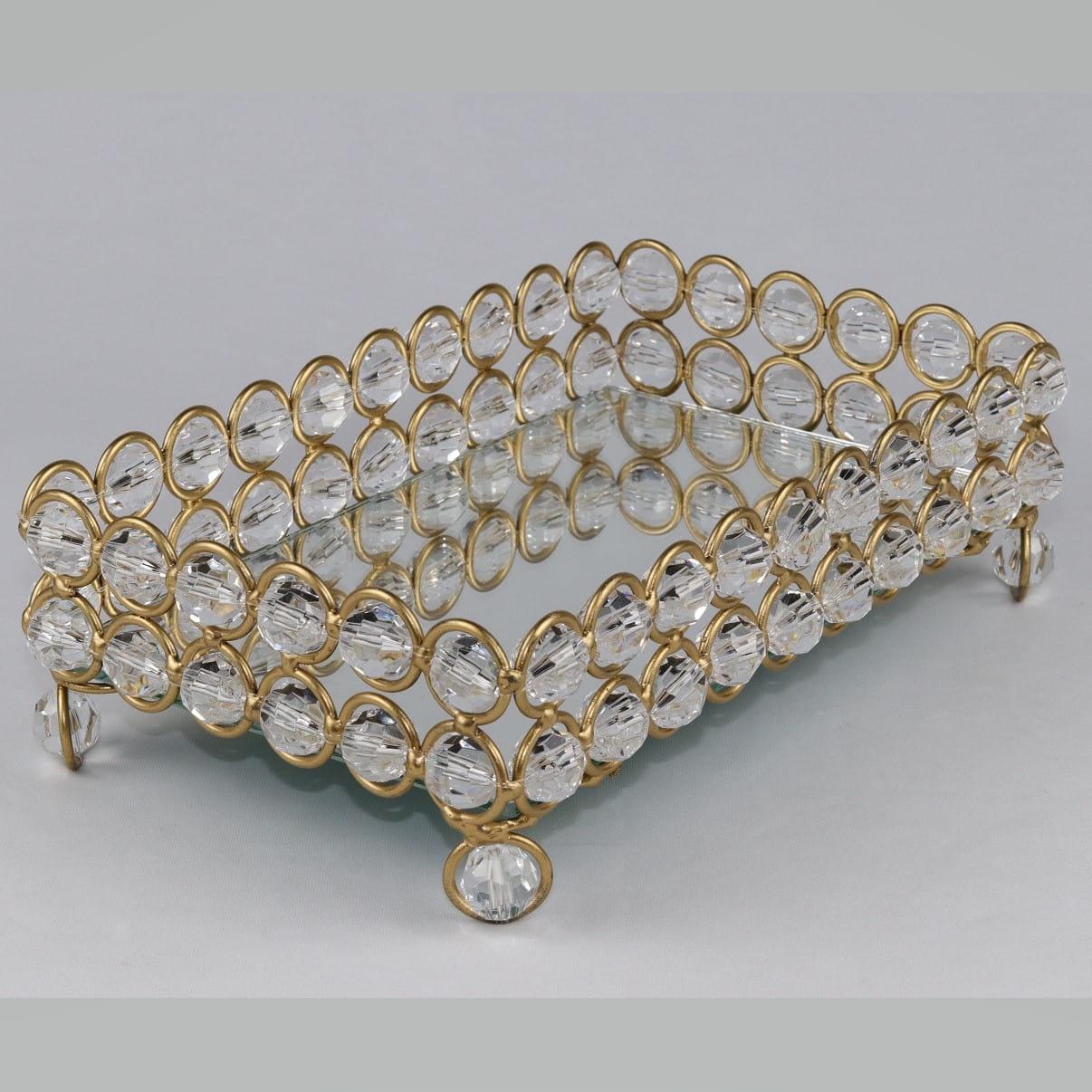 Bandeja Dourada Com Cristal 14x23cm 2 Filetes