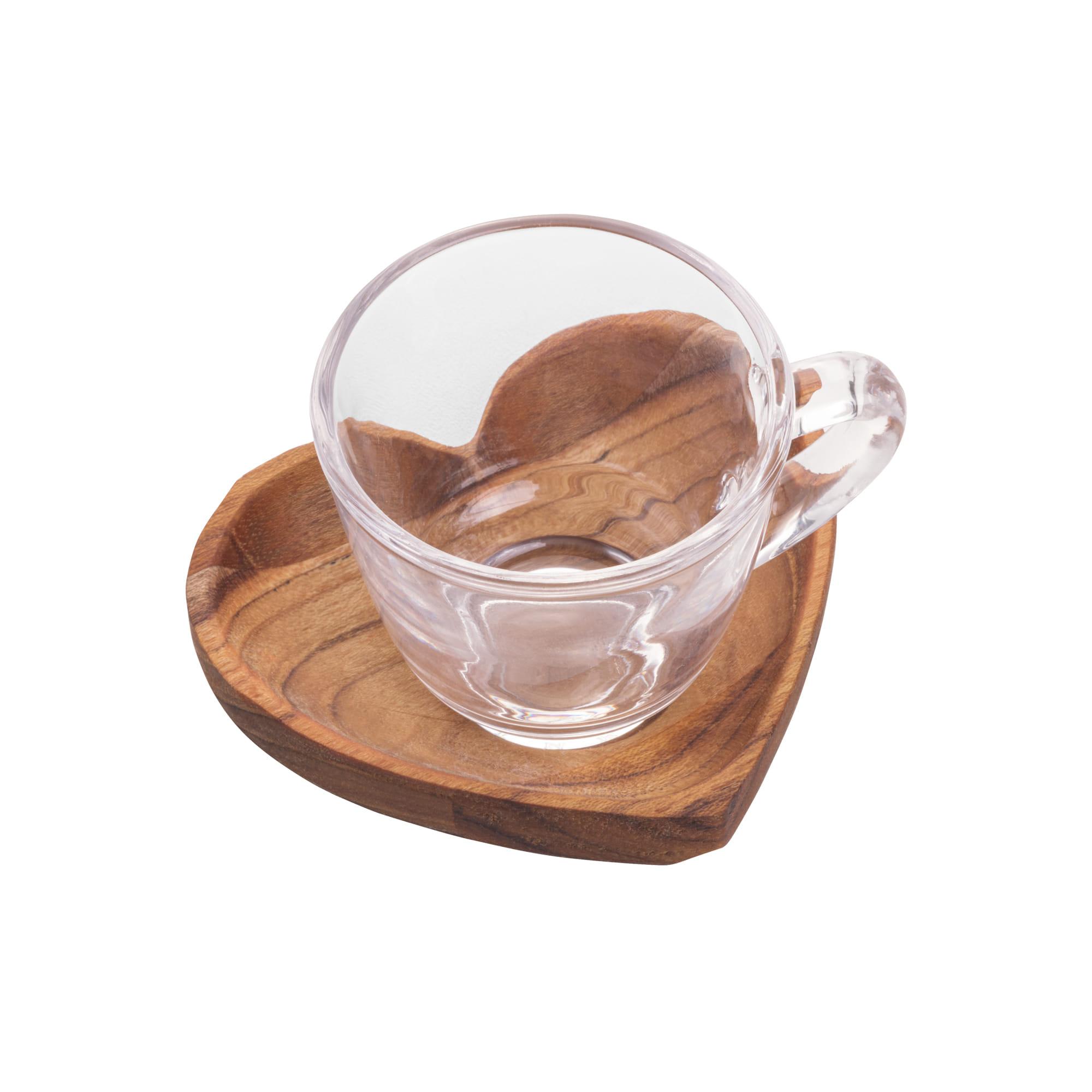 Cj 6 Xícaras Café C/ Pires Madeira Teca Coração 75ml