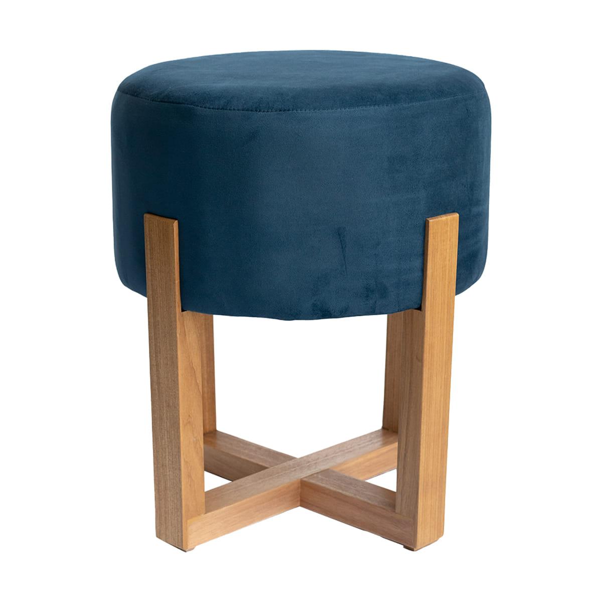 Puff Pé Cruzado De Madeira Azul