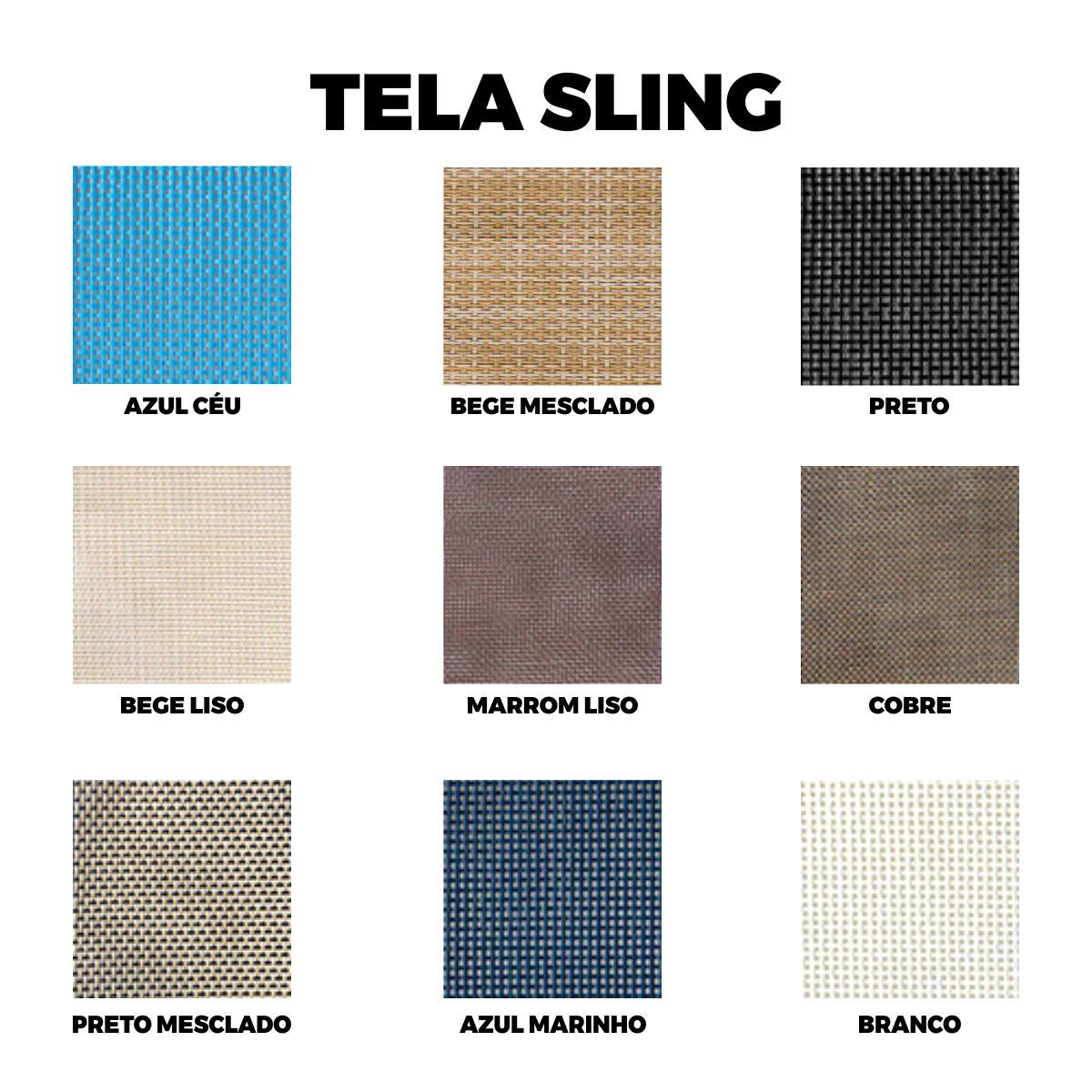 Espreguiçadeira em Tela Sling e Alumínio Tubular Sling Ondulada  - ÁREA EXTERNA MÓVEIS