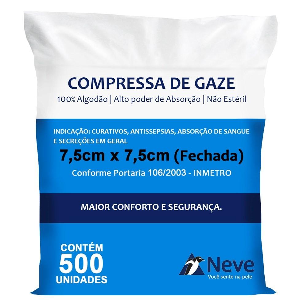 Compressa de gaze 13 fios 7,5 x 7,5cm c/ 500 unds - Neve