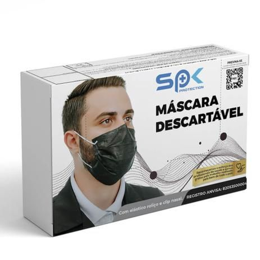 Máscara Cirúrgica Tripla  C/ Elástico Cx c/50un SPK