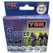 CORRENTE MTB 8 VELOCIDADES S8 116 ELOS POWER LINK CINZA ESCURO YBN