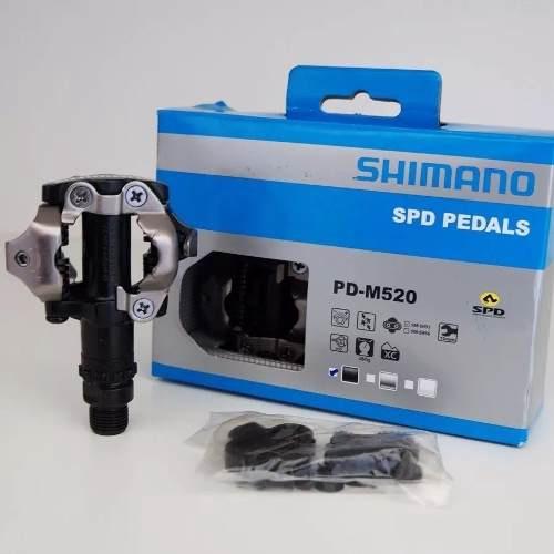 PEDAL MTB SPD 9/16 PD-M520 PRETO COM TACOS SHIMANO