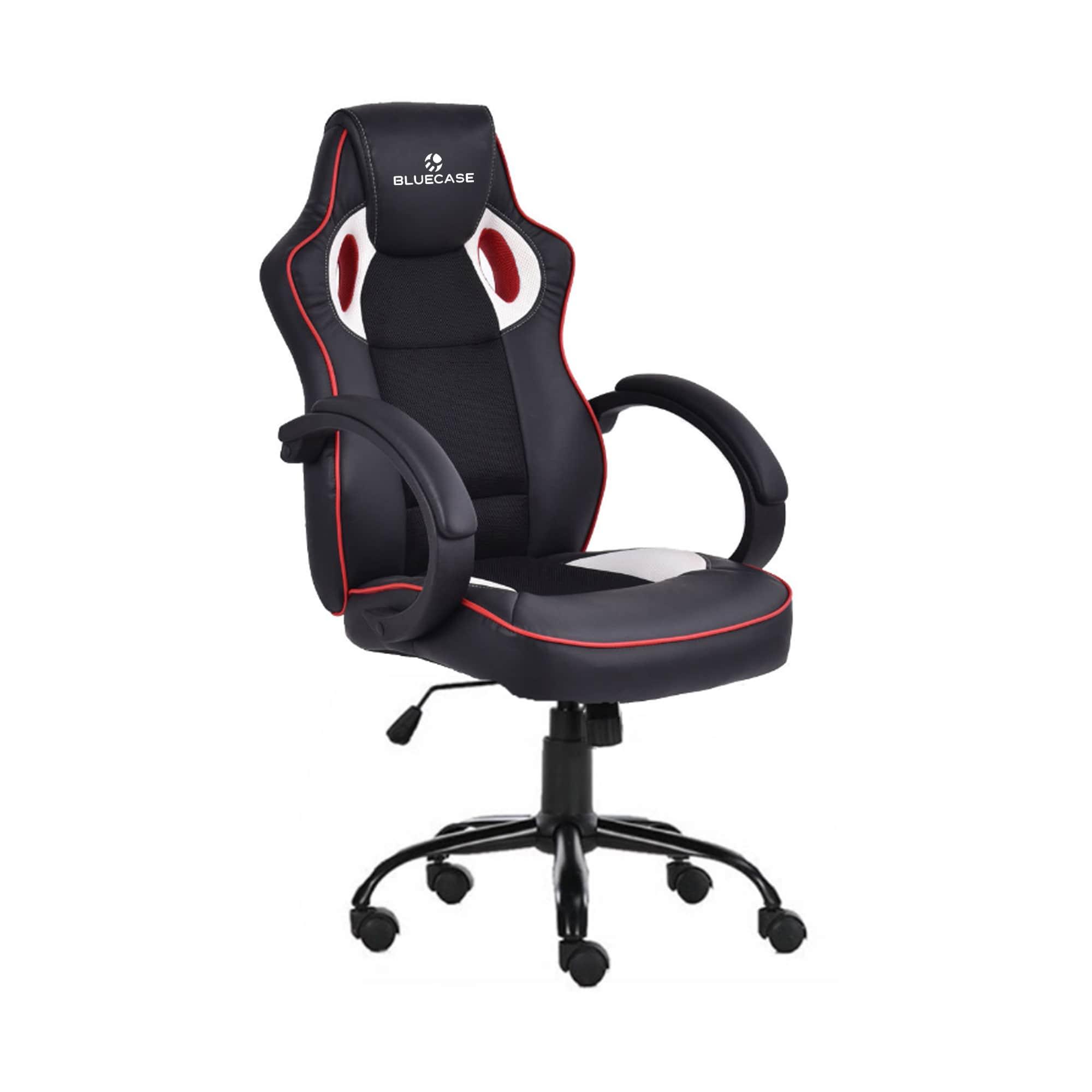 Cadeira Gamer Bluecase Iron Branco/Vermelho/Preto - BCH-24WRBK