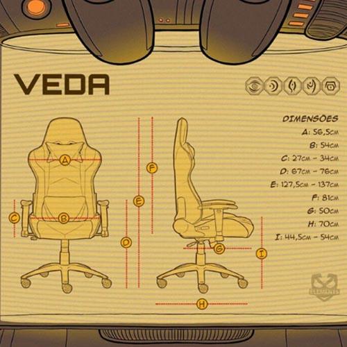 Cadeira Gamer Elements Lux RGB Nemesis Preta