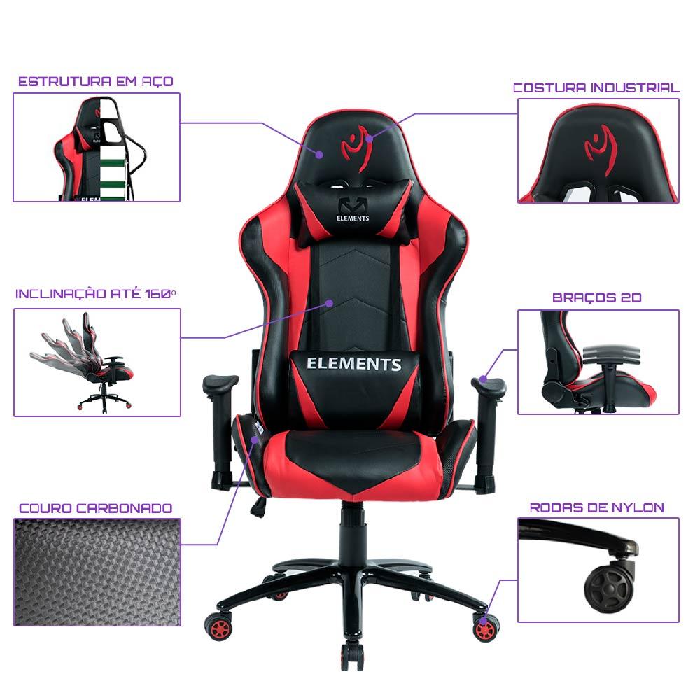 Cadeira Gamer Elements VEDA IGNIS VERMELHA/PRETA, Suporta até 150KG.