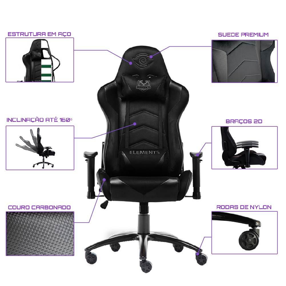 Cadeira Gamer Elements VEDA NEMESIS PRETA/SUEDE , Suporta até 150KG.