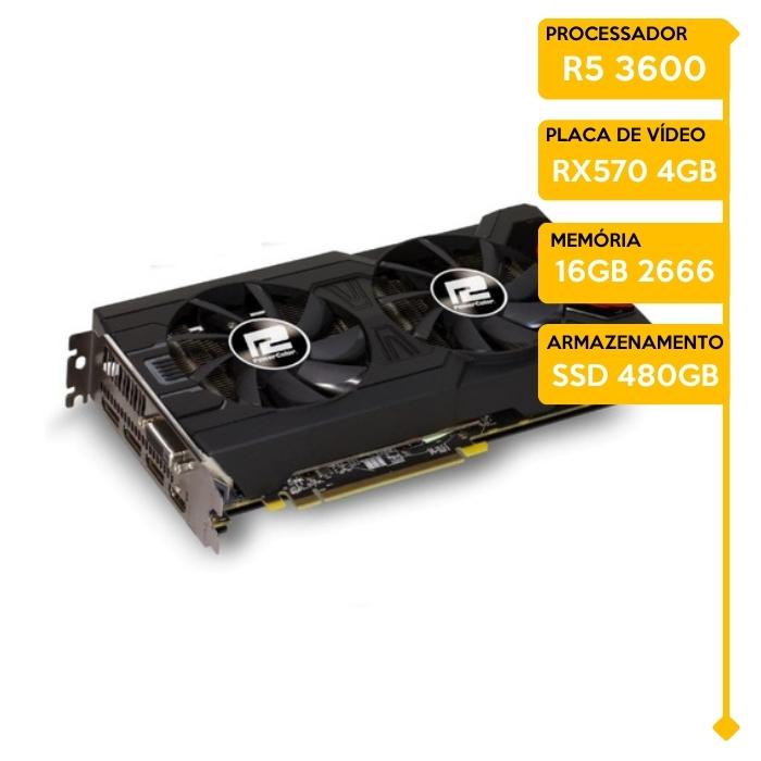Computador Gamer Insid AMD Ryzen 5 3600, 16GB 2666, SSD 480GB, RX 570 4GB, 600W 80 Plus
