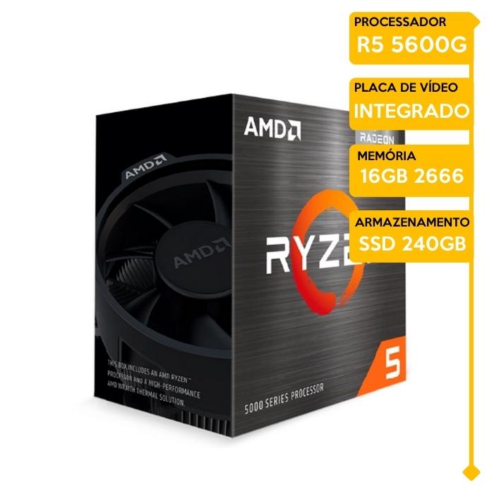 Computador Gamer Insid AMD Ryzen 5 5600G, 16GB 2666, SSD 240GB, 500W 80 Plus