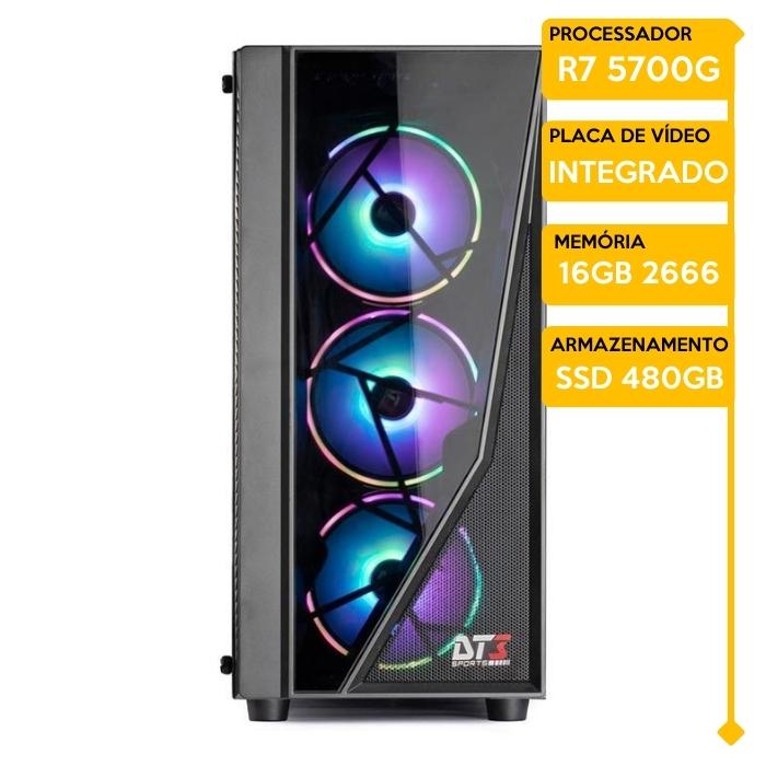 Computador Gamer Insid AMD Ryzen 7 5700G, 16GB 2666, SSD 480GB, 500W 80 Plus