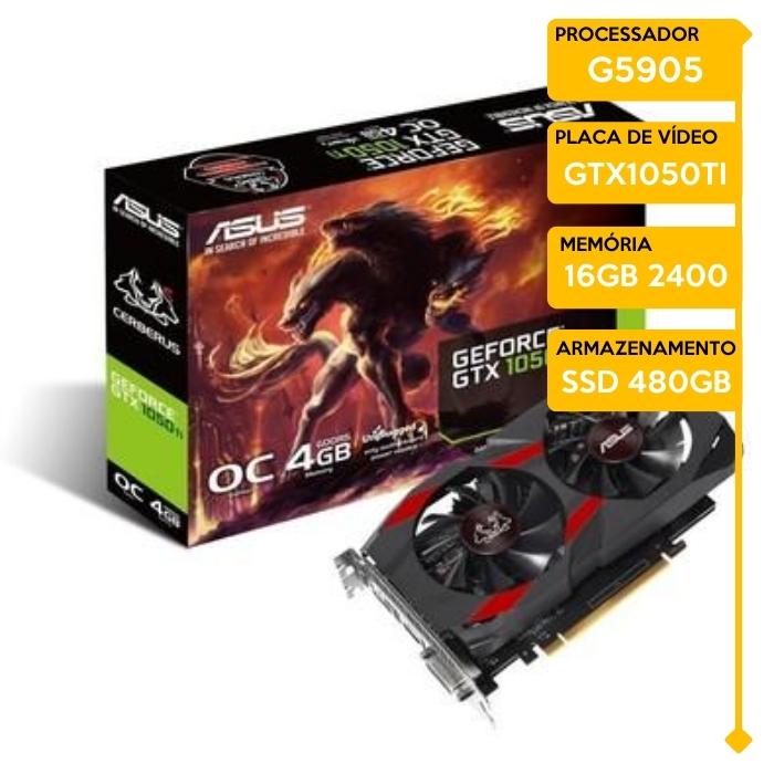 Computador Gamer Insid Intel G5905, 16GB 2400, SSD 480GB, GTX 1050Ti 4GB, 400W 80 Plus