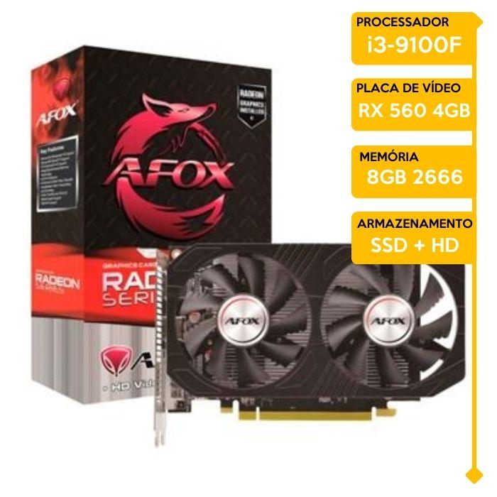 Computador Gamer Insid Intel i3-9100F, 8GB 2666, SSD 120GB, HD 500GB, RX 560 4GB, 500W 80 Plus