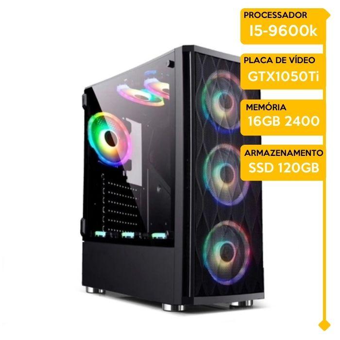 Computador Gamer Insid Intel i5-9600K, 16GB 2666, SSD 480GB, GTX 1050Ti 4GB, WaterCooler 240MM RGB, 500W 80 Plus