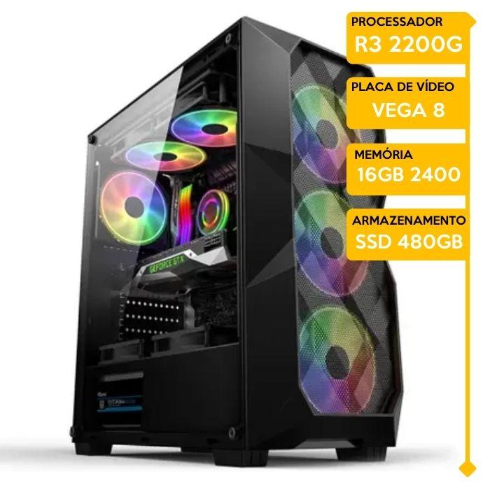 Computador Gamer Insid VINICICO AMD Ryzen 3 2200G, 16GB 2666, SSD 480GB, VEGA 8, 500W 80 Plus