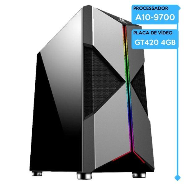 Computador Gamer Low AMD A10-9700, 8GB 2666, SSD 240GB, GT420 4GB, 500W