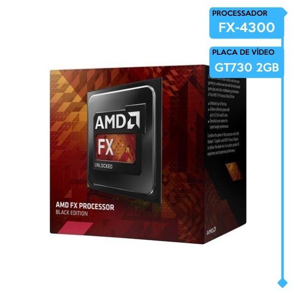 Computador Gamer Low AMD FX-4300, 8GB DDR3, SSD 240GB, GT 730 2GB, 400W 80 Plus