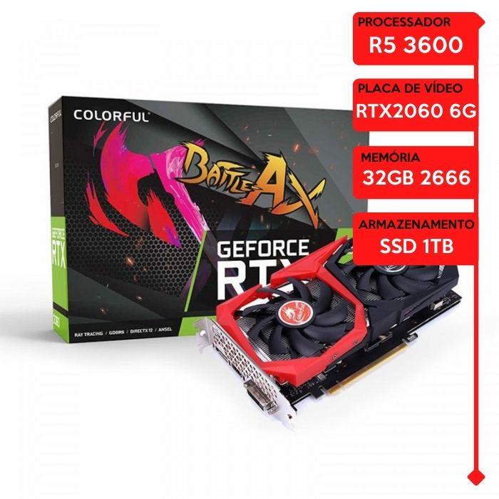 Computador Gamer Prolid AMD Ryzen 5 3600, 32GB 2666, SSD 1TB, RTX 2060 6GB, 600W.