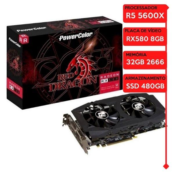 Computador Gamer Prolid AMD Ryzen 5 5600X, 32GB 2666, SSD 480GB, RX 580 8GB, WaterCooler Halo 240MM, 600W 80 Plus
