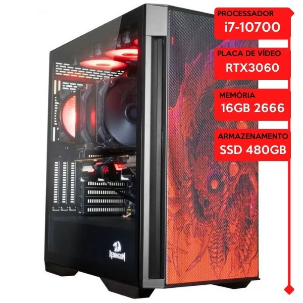 Computador Gamer Prolid Intel i7-10700, 16GB 2666, SSD 480GB, RTX 3060 12GB, WaterCooler Halo 360mm, 600W 80 Plus