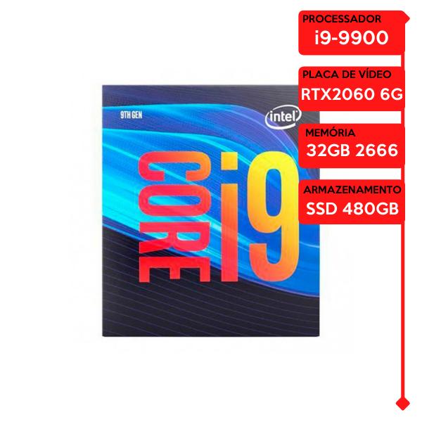Computador Gamer Prolid Intel i9-9900, 32GB 2666, SSD 480GB, RTX 2060 6GB, WaterCooler 240MM, 600W 80 Plus