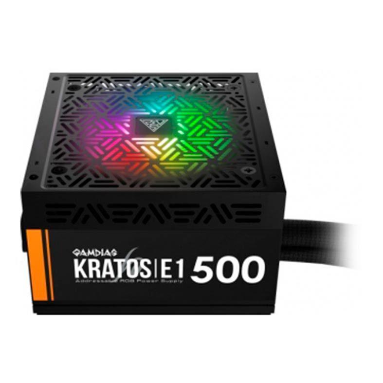 Fonte Gamdias Kratos 500W, 80 Plus, RGB, E1-500 - GD-Z500ZZZ