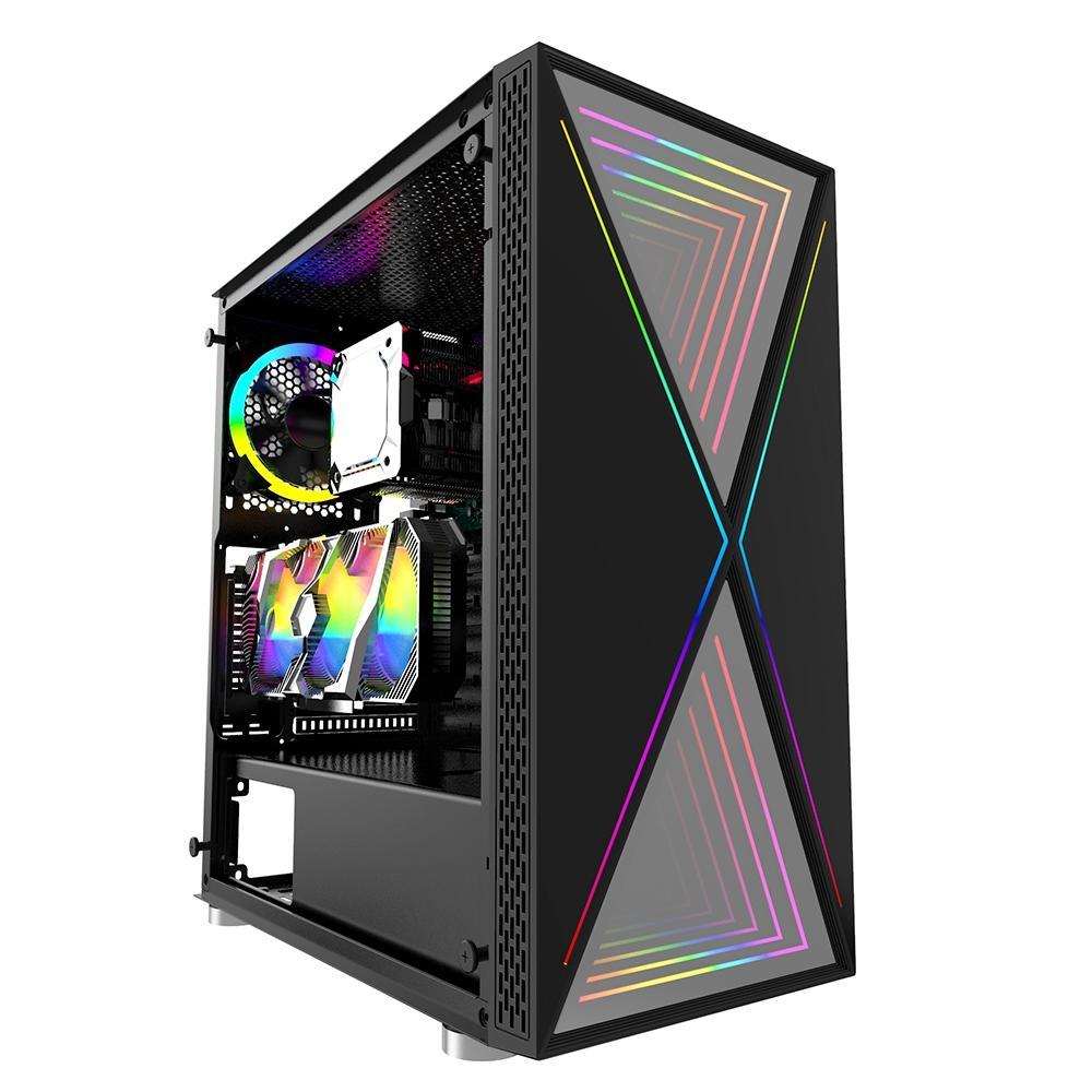Gabinete Gamer Bluecase BG-035 Pulse, LED RGB, Lateral em Vidro Temperado, Preto - BG035GCASE