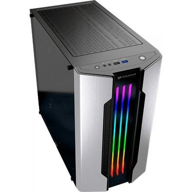 Gabinete Gamer Cougar Gemini M SILVER -, Mini Tower, RGB, com FAN, Lateral em Vidro - 385TMB0.0002