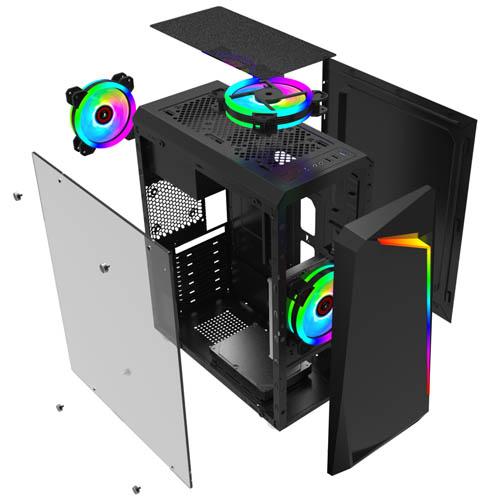 Gabinete Gamer Hayom C/ Fita de LED RGB, Preto - GB1712