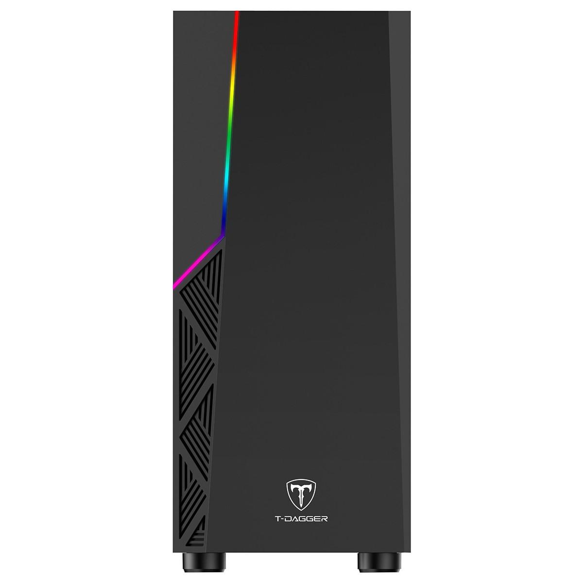 Gabinete Gamer T-Dagger P02B RGB Preto Black Mid Tower TGC-P02B