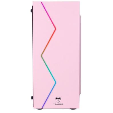 Gabinete Gamer T-Dagger P03P, Mid Tower, RGB, Pink, ATX, Sem Fonte, Sem Fan, TGC-P03P