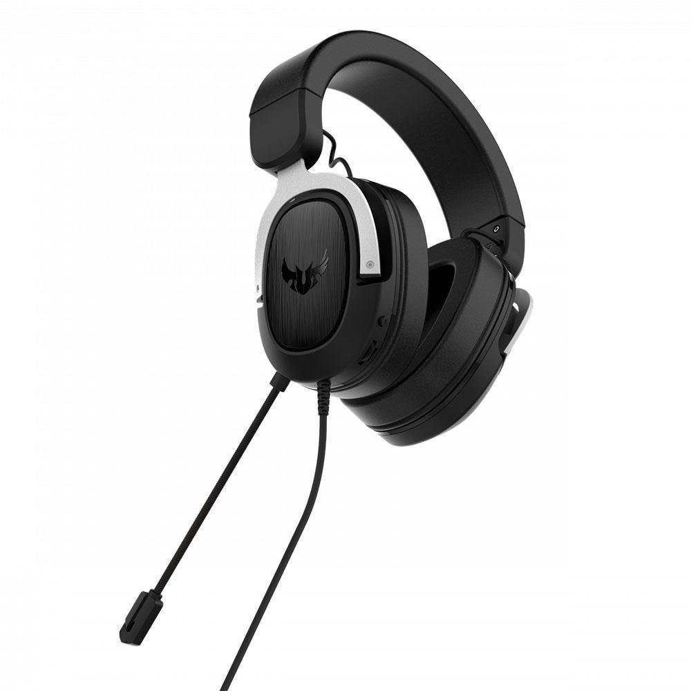 Headset Asus TUF Gaming H3, Silver, 7.1 Surround, Graves Profundos.