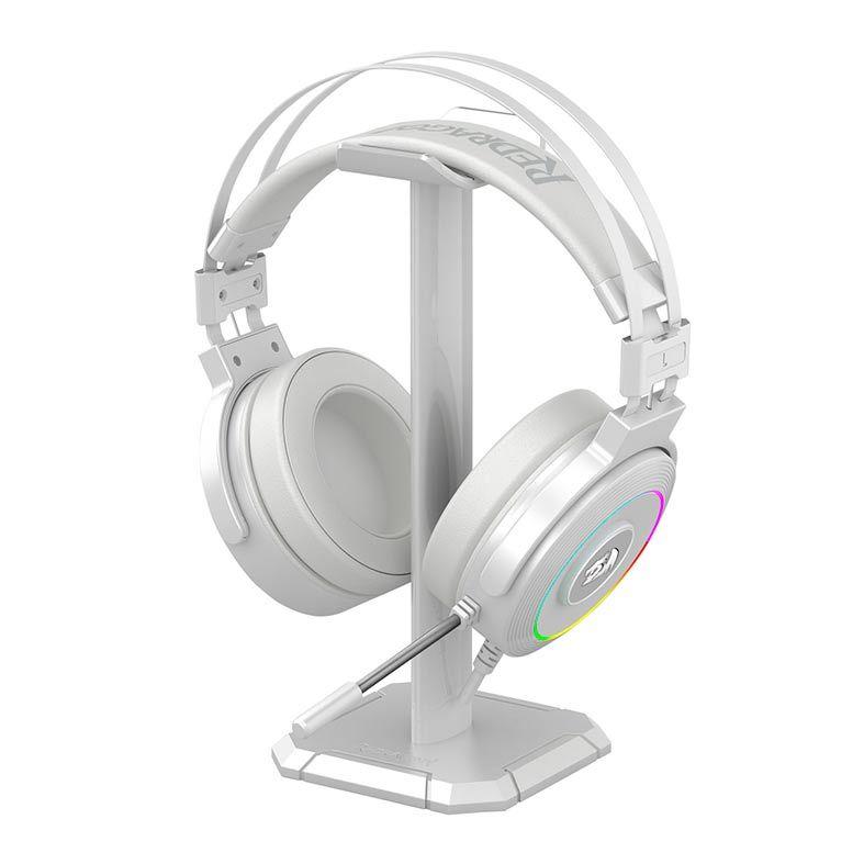 Headset Gamer Redragon Lamia 2 Branco, RGB, 7.1 USB c/ Suporte - H320W-RGB