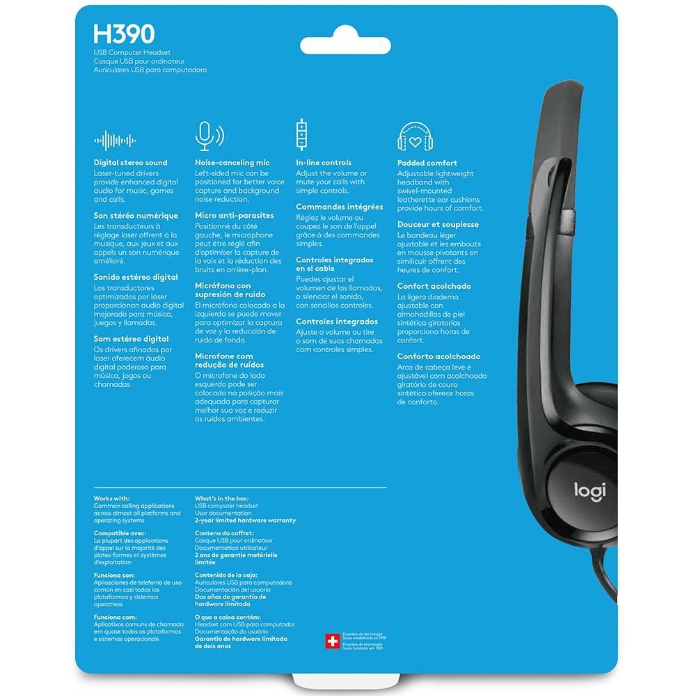 Headset Logitech H390 Áudio Digital em Couro USB Preto - 981-000014