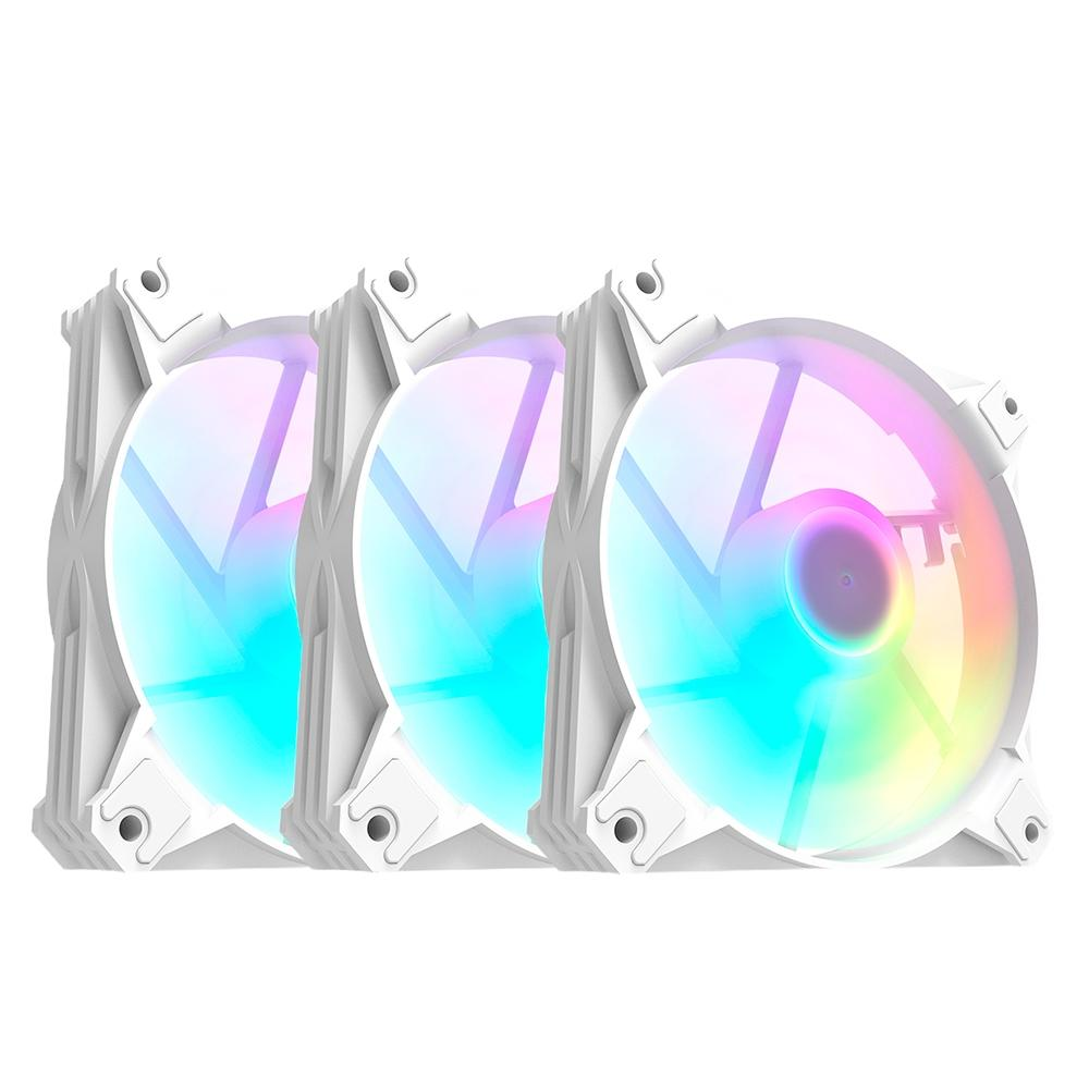 Kit 3x Cooler Fan Motospeed Hyrax ARGB, 120mm, para Gabinete, Branca- HCL603W