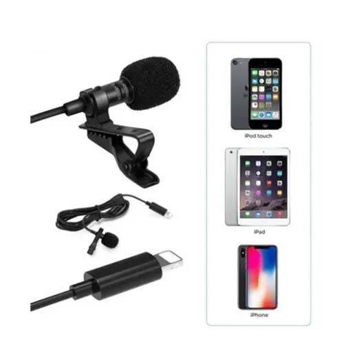 Microfone de Lapela P/ PC, Celular, Notebook, para Iphone, Conector Lighining