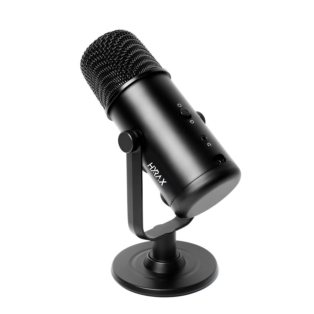 Microfone Gamer Condensador Hyrax by Motospeed HMC900, Base de Metal, Windows/Mac/Android/IOS, USB, Plug And Play, Preto