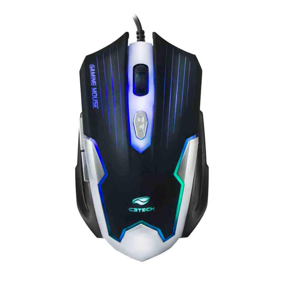 Mouse Gamer C3Tech, 2400, DPI, 6 Botões, LED Multicores, USB Preto/Prata - MG-11BSI