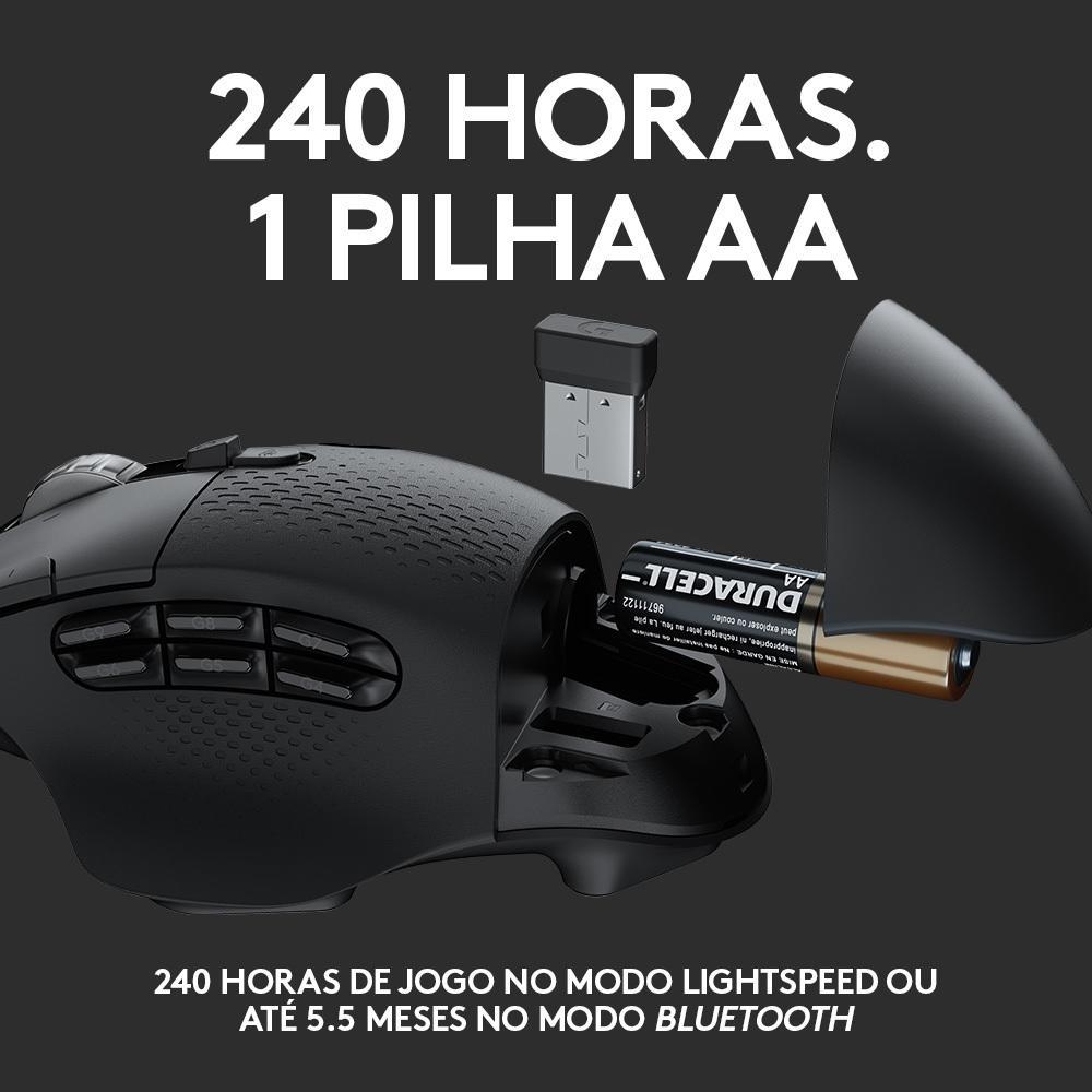 Mouse Gamer Logitech Sem Fio Logitech G604 Hero 16k Lightspeed, Bluetooth, 15 Botões, 16000 DPI - 910-005648