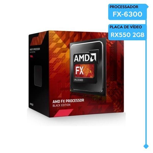 PC Gamer Low FX-6300, BMB78-D1, 8GB DDR3 1600MHZ, SSD 480GB, RX 550 2GB, 400W 80Plus.