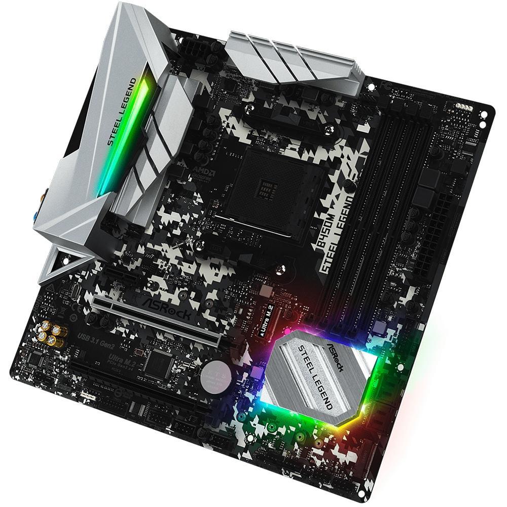 Placa-Mãe ASRock B450M Steel Legend, AMD AM4, mATX, DDR4 - 90-MXB9Y0-A0BAYZ