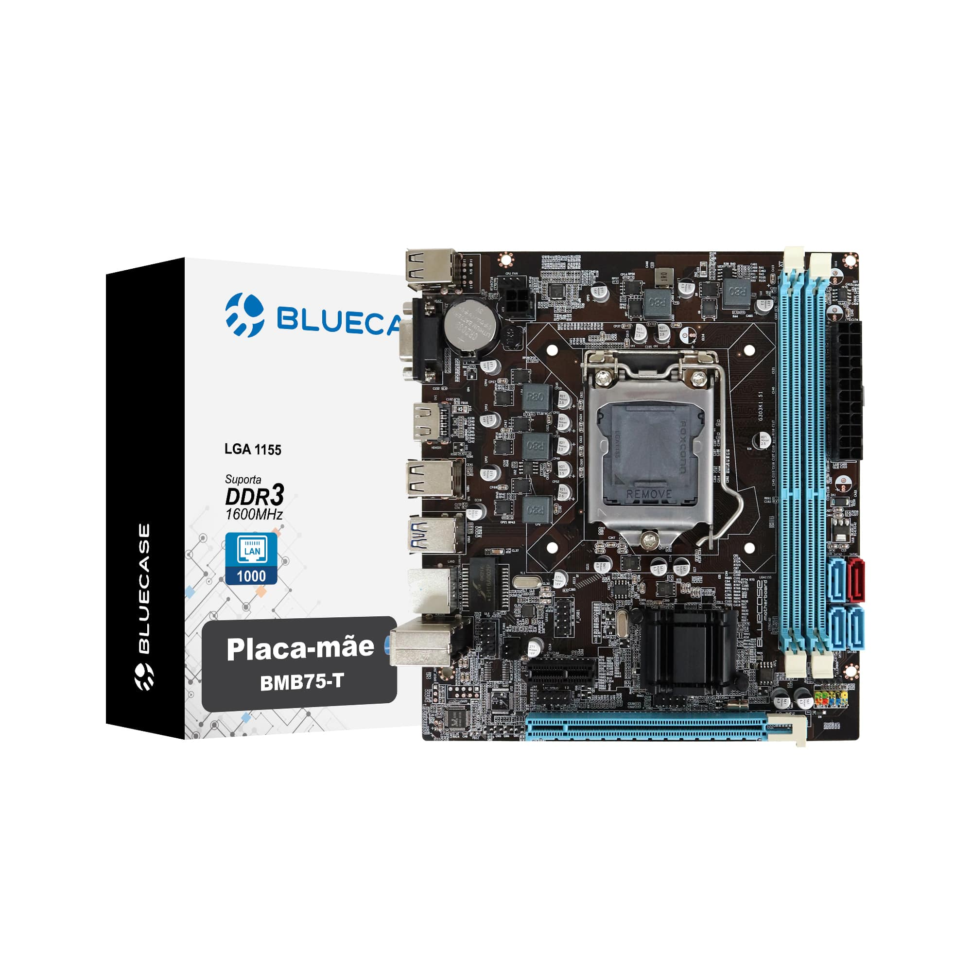 Placa-mãe Bluecase BMB75-T, LGA 1155, DDR3, Gigabit - BMB75TCASE